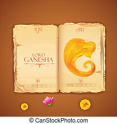 Lord Ganesha - illustration of Lord Ganesha in antique book