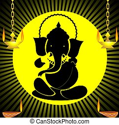 Lord Ganesha - Illustration of Lord Ganesha and divine lamps...