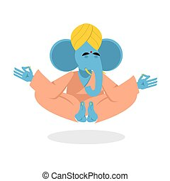 Elephant yoga. The elephant in the lotus position.