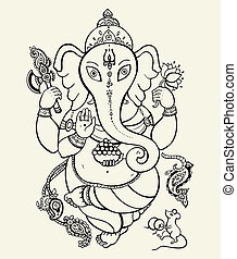 Lord Ganesha. Ethnic Vector hand drawn illustration.