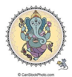 Lord Ganesha Hand drawn illustration. - Hindu God Ganesha....