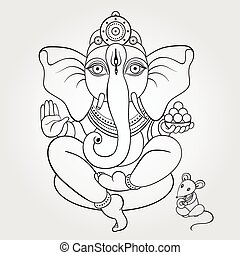 Lord Ganesha Hand drawn illustration. - Hindu God Ganesha....