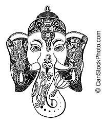 lord ganesha head with lotus drawing - indian spirit animal elephant tattoo or yoga design