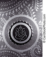 Lord Ganesha in Abstract form on a Matrimony card
