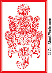 Lord Ganesha in red.