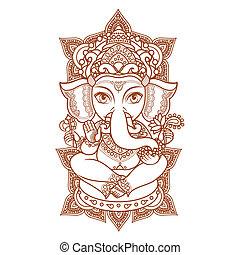 Lord Ganesha. Vector illustration of Happy Lord Ganesh for...