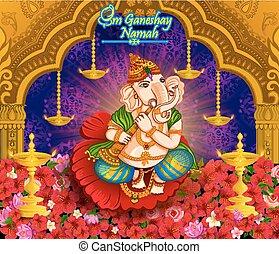 Happy Ganesh Chaturthi festival celebration of India