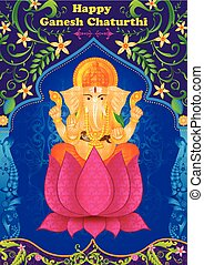 Lord Ganpati in vector for Happy Ganesh Chaturthi