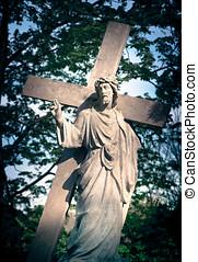 lord, jézus, és, jámbor, kereszt
