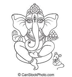 lord, kéz, ganesha, illustration., húzott