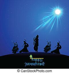 Lord Krishna doing Rash Leela in Janmasthami - illustration...