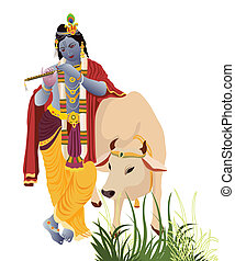 Lord Krishna playing flute with holy cow
