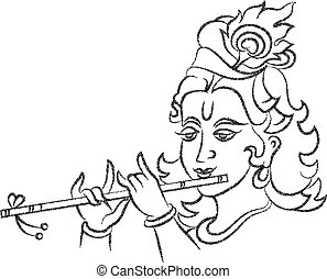 Lord Krishna Stipple Effect Vector Art