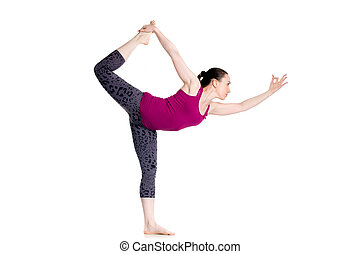 lord of the dance yoga pose in pair two sporty people