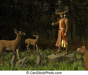 Lord of the Forest - Woodland deity surrounded by forest...