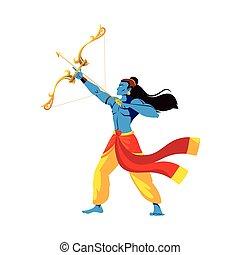 lord ram cartoon with bow and arrow vector design