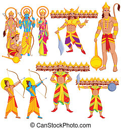 Lord Rama, Laxmana, Sita with Hanuman in vector
