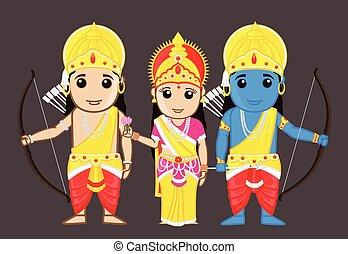 Lord Rama with Mata Sita and Brother Laxman Vector Illustration