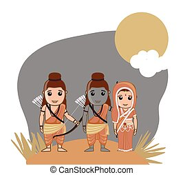 Lord Rama, Sita and Lakshman - Hindu God Vector Illustration