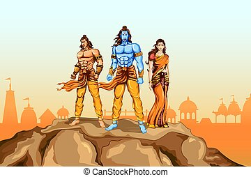 Lord Rama, Sita and Laxmana in Dussehra poster -...
