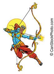 illustration of Lord Rama with bow arrow killing Ravana