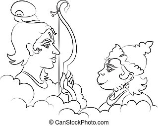 Lord Rama With Hanuman Ape (Monkey) God Vector Art