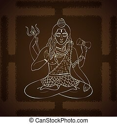Lord Shiva. Hindu gods vector illustration. Indian Supreme God Shiva sitting in meditation. hand drawn vector illustration of Shiva.