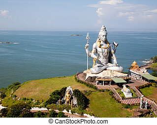 Huge idol of Lord Shiva, in the Hindu temple in Murudeshwar, Karnataka India.