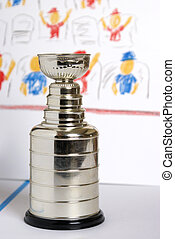 A closeup view of a replica Lord Stanley Hockey Trophy on a cartoon style backdrop.