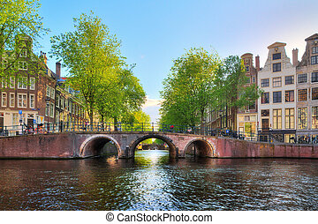 Lords canal bridge - Bridge over the Leidse canal at the...