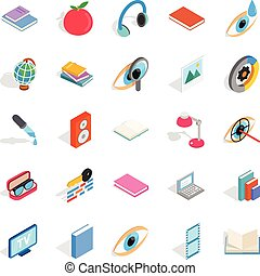 Lore icons set, isometric style - Lore icons set. Isometric...