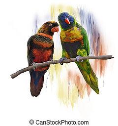 Lorikeet Parrots watercolor