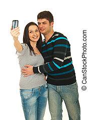 loro, coppia, presa, telefono, foto