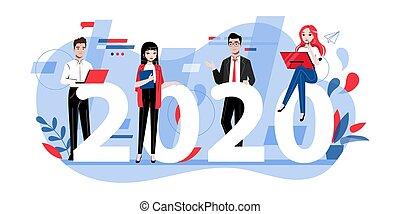 loro, lavoro squadra, appartamento, cartone animato, divertimento, lineare, style., creatività, contorno, illustrazione, successo, mete, concept., brainstorming, gruppo, 2020., resolutions, persone affari, detenere, vettore