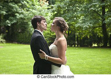 loro, newlyweds, giorno, matrimonio