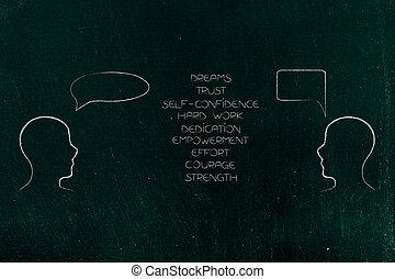 loro, persone, positivo, ciascuno, elenco, emozioni, prospiciente, altro, fra, comico, bolle