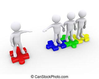 loro, unire, aiuto, persone, offerta, un altro