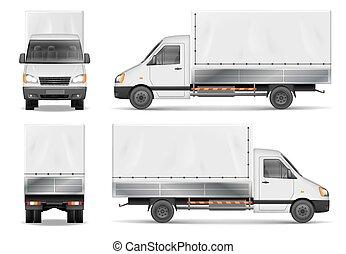 lorry., 貨物, 側, 半, コマーシャル, 隔離された, 出産, 背中, ベクトル, トラック, white., テンプレート, 前部, ビュー。