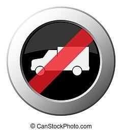 lorry car - ban round metal button, white icon