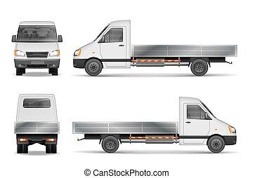 lorry., cargaison, côté, fourgon, illustration., mockup, commercial, isolé, illustration, livraison, vecteur, white., véhicule, devant, vue., ville, arrière