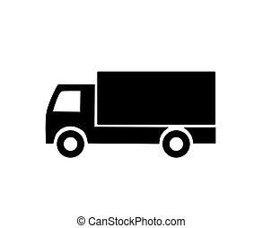Lorry - Black lorry silhouette - vector illustration.