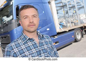 lorry driver posing