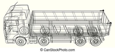 Lorry. dumper truck. Tracing illustration of 3d.