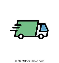 lorry flat color icon