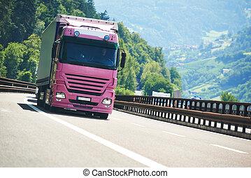 lorry, lastbil, på, motorväg, väg