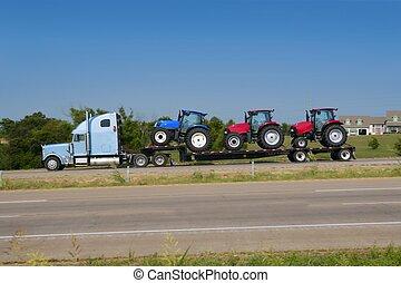 lorry, lastbil transportera, med, tre, lantbruk, traktor