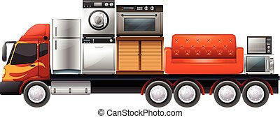 Lorry loaded with furnitures and appliances illustration