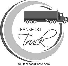 lorry., silhouette, symbole, vecteur, camion, monochrome, circulaire, transport, design.
