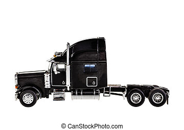 Lorry - a black lorry model isolated over a white background