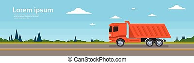 Lorry Tipper Truck Dump Car On Road Cargo Shipping Delivery...